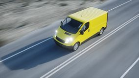 Yellow delivery van on highway. Very fast driving. Transport and logistic concept. 3d rendering. Yellow delivery van on highway. Very fast driving. Transport Royalty Free Stock Photography