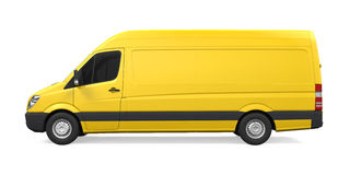 Yellow Delivery Van Isolated Royalty Free Stock Photography
