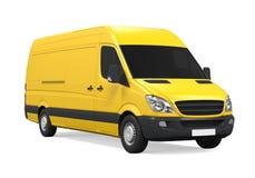 Yellow Delivery Van Isolated Stock Image