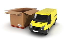 Yellow delivery van with opened cardboard box 3d. Yellow delivery van with opened cardboard box stock illustration
