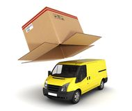 Yellow delivery van with opened cardboard box 3d. Yellow delivery van with opened cardboard box royalty free illustration