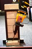 Yellow Demolition Hammer Breaking Brick Demo Stock Photos