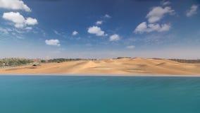 Yellow desert dunes and sky timelapse hyperlapse. View from swimming pool, UAE royalty free illustration