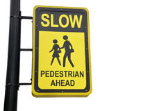 Yellow design sign for pedestrian ahead Royalty Free Stock Image