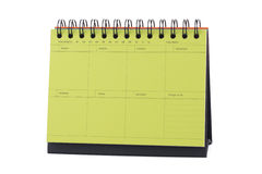 Yellow Desk Calendar Note Stock Image