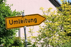 Yellow detour road sign, Germany. Royalty Free Stock Photo