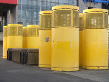 Yellow devices of ventilating system on the street Royalty Free Stock Photo