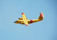 Yellow DHC-5 turboprop. De Havilland DHC-Buffalo turboprop in yellow color royalty free stock images