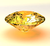 Yellow diamond brilliant 3d Royalty Free Stock Image