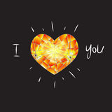 Yellow diamond heart. On black background and text Royalty Free Stock Photography