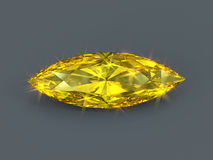 Yellow diamond marquise cut isolated Stock Images