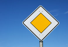 Yellow diamond road sign Royalty Free Stock Photo