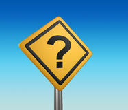 Yellow diamond shaped road sign with question mark. Royalty Free Stock Image