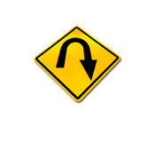 Yellow diamond u-turn road sign Royalty Free Stock Photos