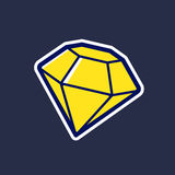 Yellow diamond vector icon in cartoon style Royalty Free Stock Photography