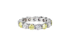 Yellow Diamond Wedding Band Ring Stock Photo