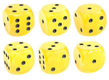 Yellow dice Royalty Free Stock Image
