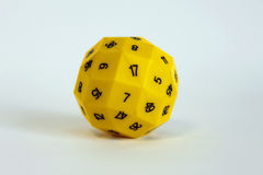 Yellow dice number play random toy game Stock Photography