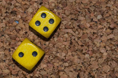 Yellow dices two four Royalty Free Stock Photography