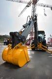 Yellow diesel excavator Royalty Free Stock Photos