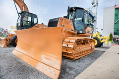 Yellow diesel front end loader Stock Photos