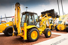 Yellow diesel front end loader on display Royalty Free Stock Image