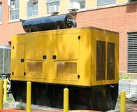 Yellow Diesel Powered Generator Stock Photo
