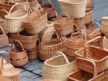 Yellow different baskets pile Royalty Free Stock Photo
