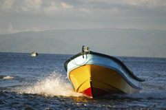 Yellow dinghy Stock Photo