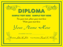 Yellow diploma design Stock Photo