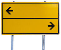 Yellow direction sign (clipping path included). Yellow direction sign isolated on white with clipping path Royalty Free Stock Image