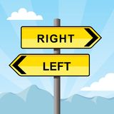 Yellow direction sign pointing opposite directions, words right and left Royalty Free Stock Image