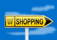 Yellow directional arrow with the word shopping Royalty Free Stock Images