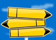 Yellow directional arrows no inscription on a blue background Stock Photos