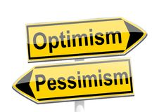 Yellow directional arrows with the words optimism and pessimism Royalty Free Stock Photos
