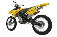 Yellow Dirt Bike - Back View Stock Photography