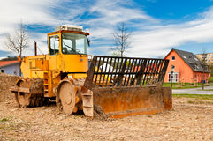 Yellow dirt roller Stock Photography