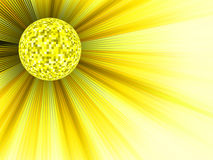 Yellow disco ball 3d illustration. EPS 8 Stock Photos