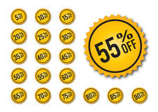 Yellow discount tags Stock Image
