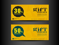 Yellow Discount Voucher template, coupon design,ticket, banner,c Stock Photo