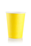 Yellow disposable cup Royalty Free Stock Image