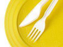 Yellow disposable plate Stock Images