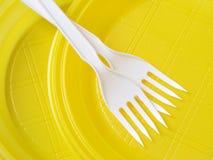 Yellow disposable plates Royalty Free Stock Photo
