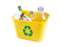Yellow disposal bin Royalty Free Stock Photos