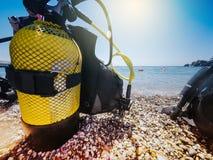 Yellow diving tank. Royalty Free Stock Photo