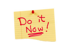Yellow Do it Now Note Stock Images