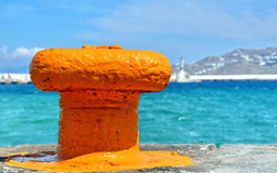 Yellow dock bollard Royalty Free Stock Photos