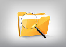 Yellow document file folder directory icon  and magnified glass on white grey, transparent vector. Eps10 Stock Image
