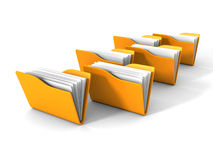 Yellow Document Paper Office Folders On White Background. 3d Render Illustration Stock Photography