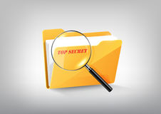 Yellow document secret file folder directory icon  and magnified glass on white grey, transparent vector Royalty Free Stock Images